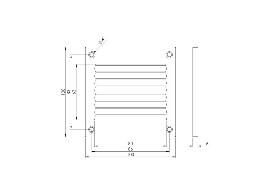 Ventilācijas reste metāla  MR1010, 100x100mm