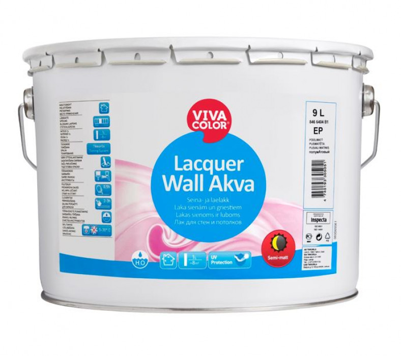 Vivacolor LACQUER WALL AKVA EP 9L Lacquer for wooden walls and ceilings