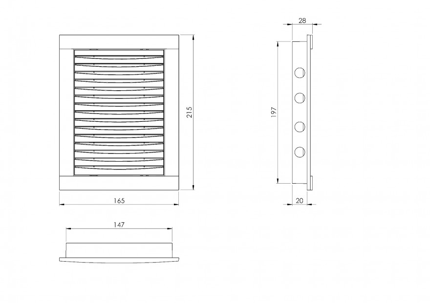 HYBRID grill-hatch with filter plastic, 150x200mm