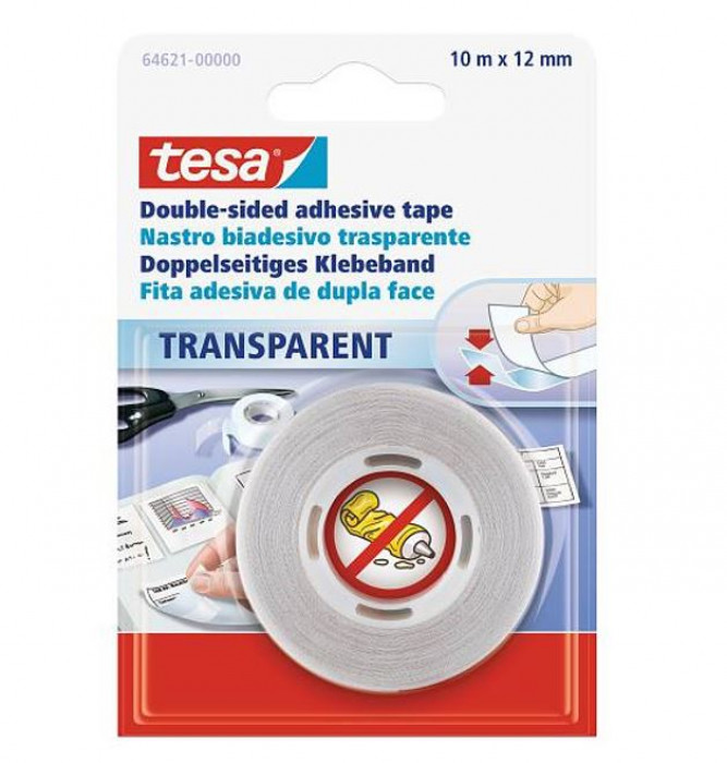 tesa 64621 Double-sided transparent self-adhesive tape 10mx12mm