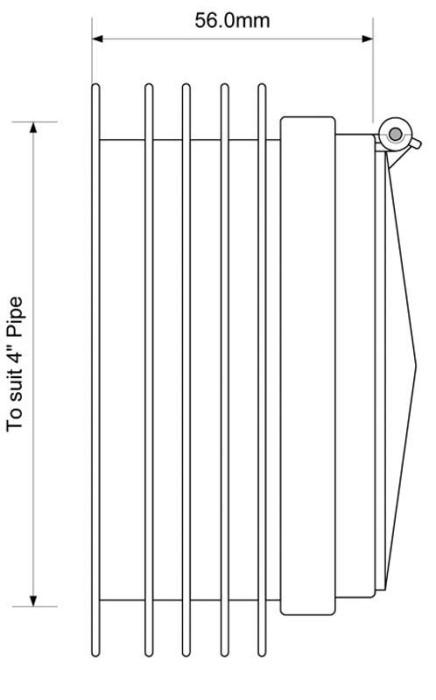 Vārsts pret grauzējiem 110mm  ieliekams caurulē ARB-1
