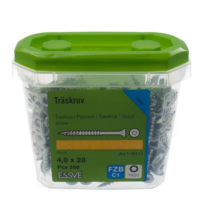 Skrūve kokam ESSDRIVE 4.0X20mm Zn 200gab/iep., ESSVE 136111