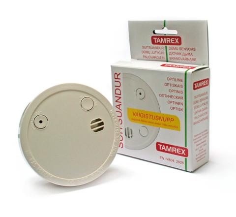 Dūmu sensors optiskais,  ar noklusējuma pogu