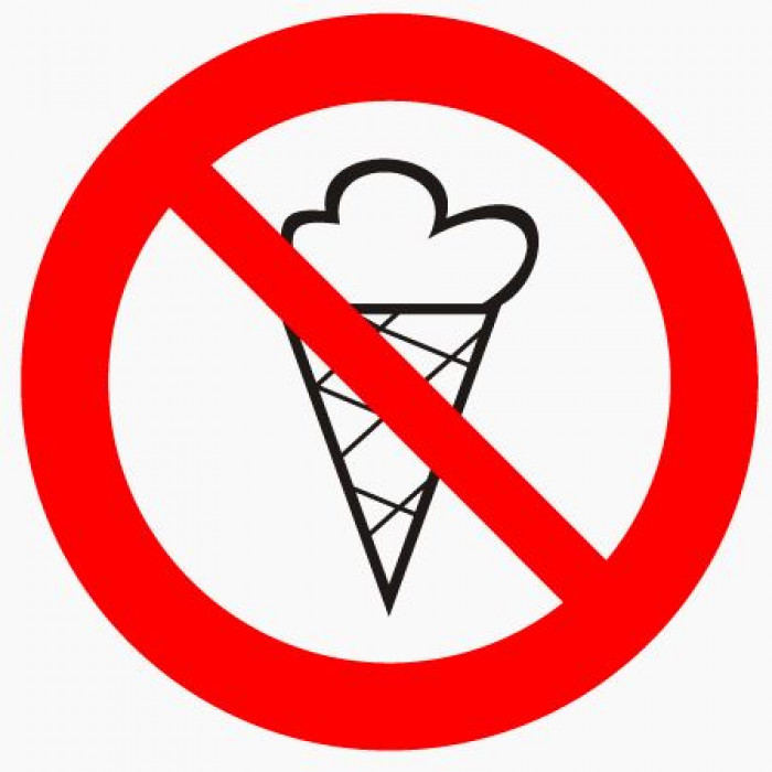 Sticker ''No entry with ice cream'' D 10cm