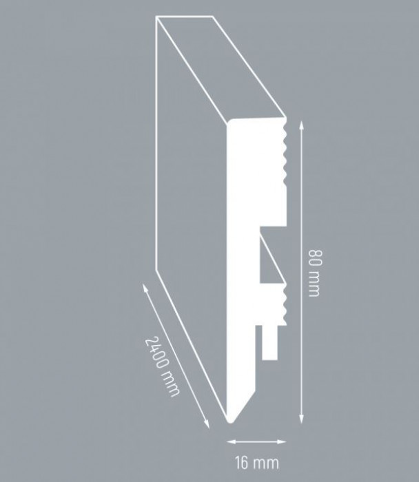 Grīdlīste MDF 80/16mm 2.4m Pre stige L744 Oak Argenda late