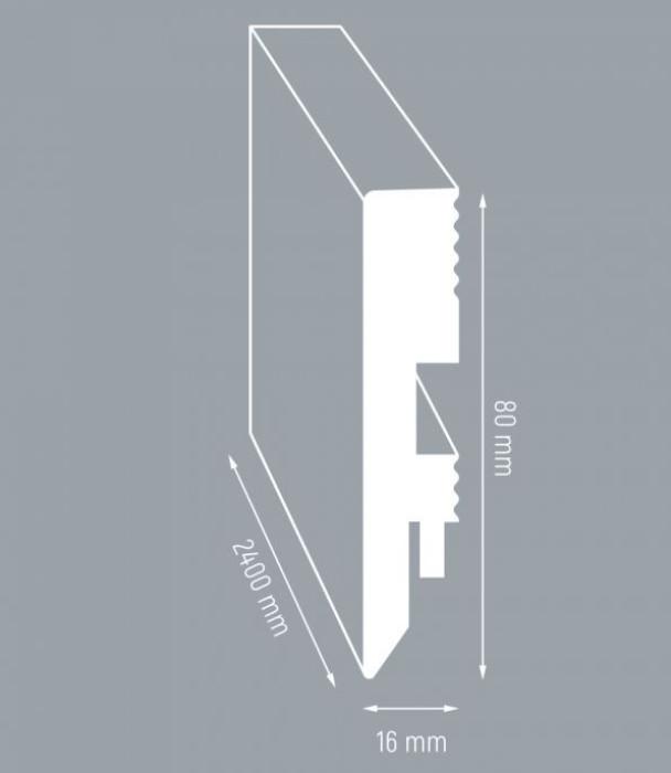 Grīdlīste MDF 80/16mm 2.4m Pre stige L3675 Grenada Oak