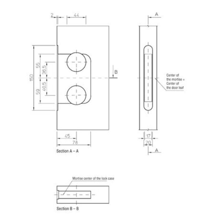lock+striker plate (for flush door)+screws golden