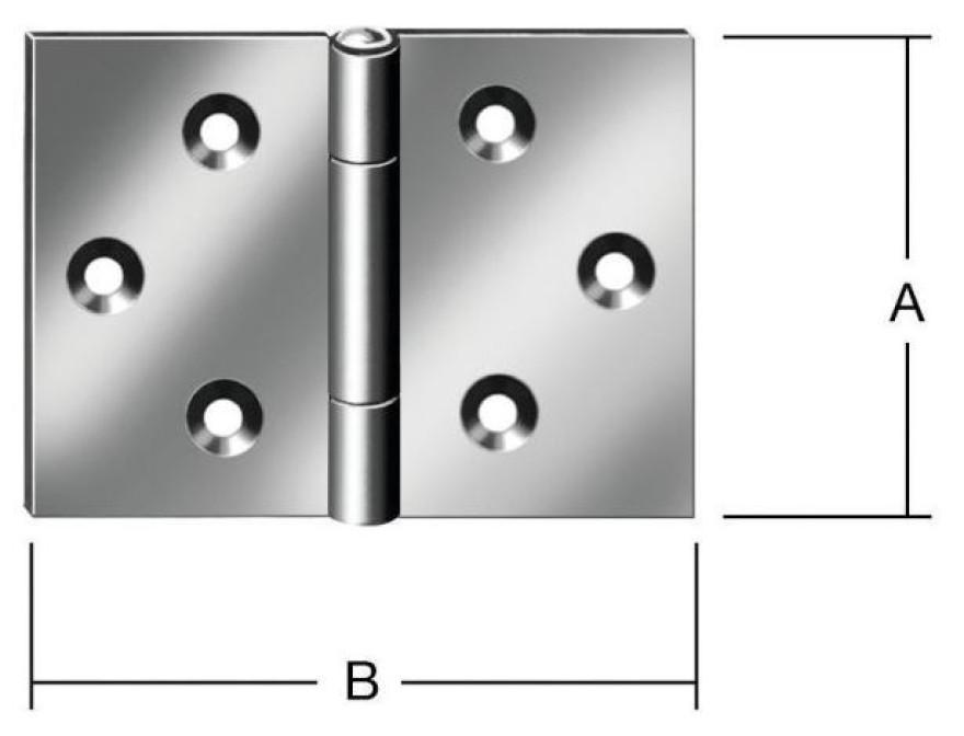 Wide hinges 80x120mm Steel / ZN