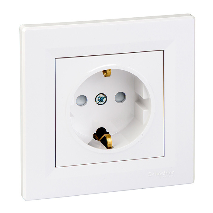 Asfora - single socket outlet with side earth, shutters, white
