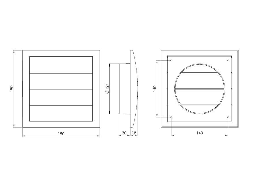 ventilationgrilleplastic,190x190mm,Ø125mm,withshutter