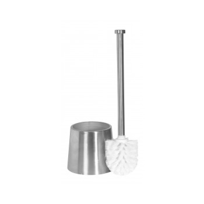 Toilet brush with stainless steel/glass bowl, mat