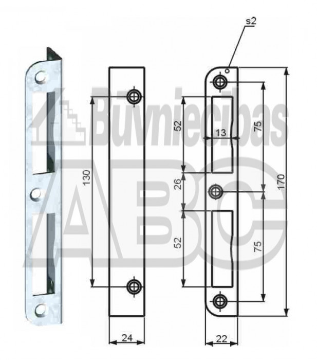 Striker plate Kurzeme for mortice lock 5477Z