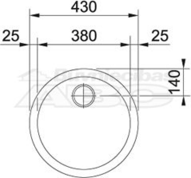 """FRANKE nerūsējošā tērauda virt. izlietne RAN 610-38 D43cm komplektā ar 3.1/2"""" izplūdi 112.0006.351 101.0017.901+101.0017.901"""