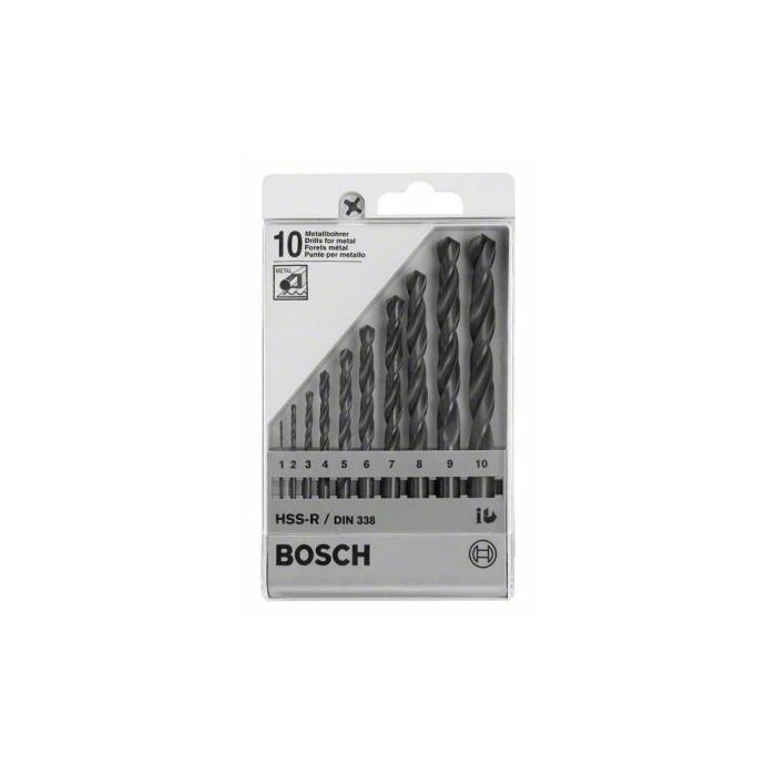 10-piece metal drill bit set HSS-R, DIN 338