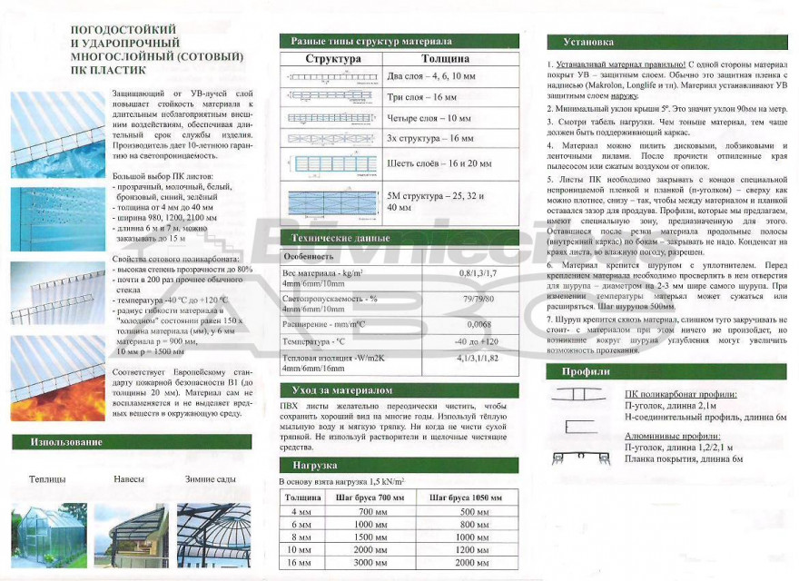 Multiwall polycarbonate (PC) clear 10x1050x2000mm