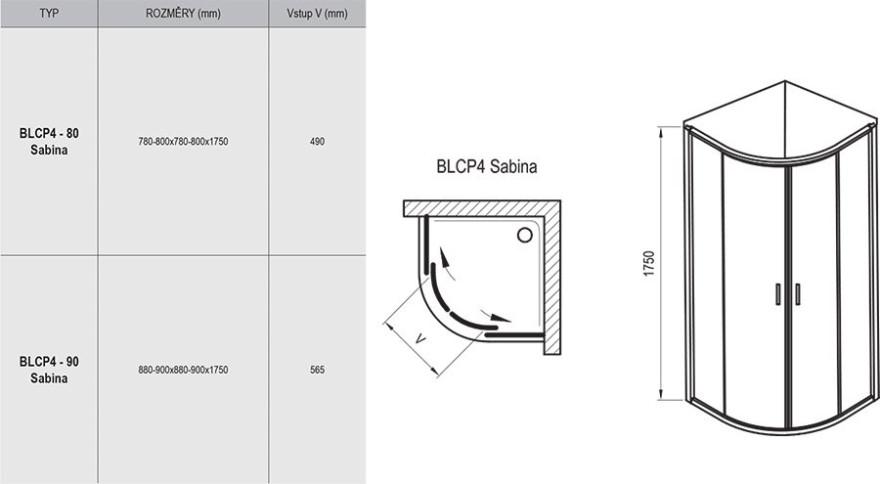 Ravak kabīne BLCP4-90 Sabinasatīns/Transparent 3B270U40Z1
