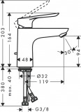 Logis E Single lever basin mixer 100 with pop-up waste set