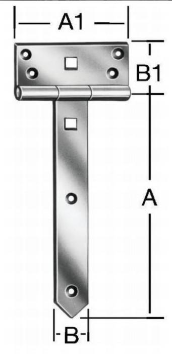 T-hinges 400x38mm Steel / ZN