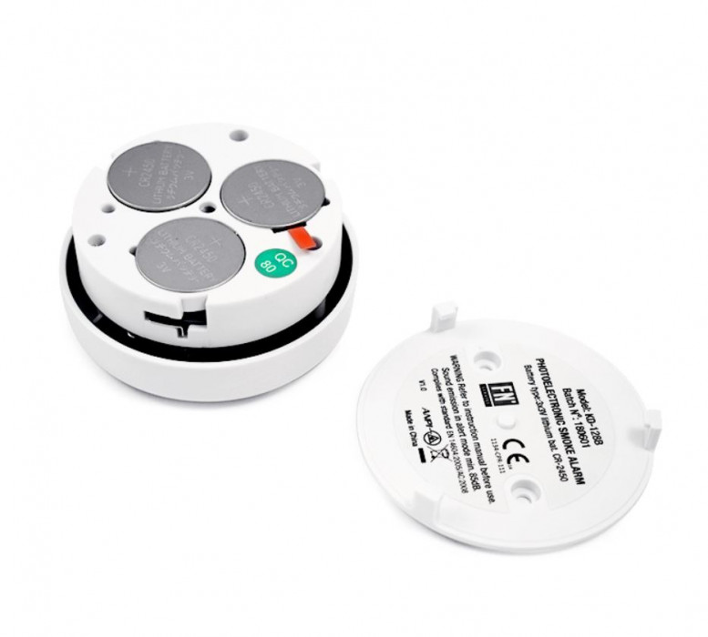 Smoke Detector KD-128B with DC9V (CR2450 3VX3) Battery, 5 years