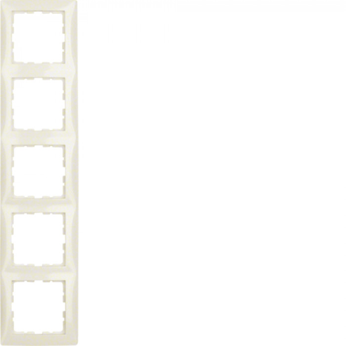 BERKER S1 white glossy frame 5gang
