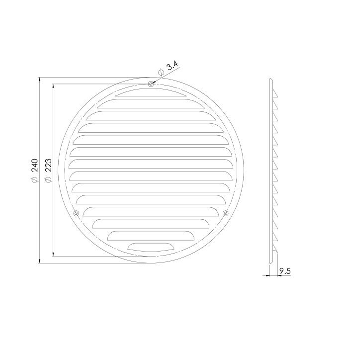решеткаметаллическая,Ø200mm,цынк