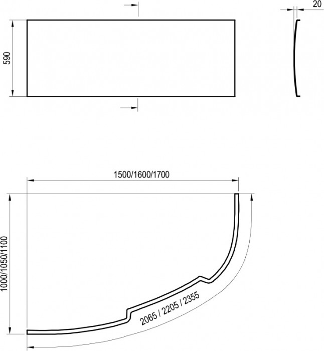 Ravak Vannas panelis ASYMMETRI C 150 L ar stipr.  CZ44100000