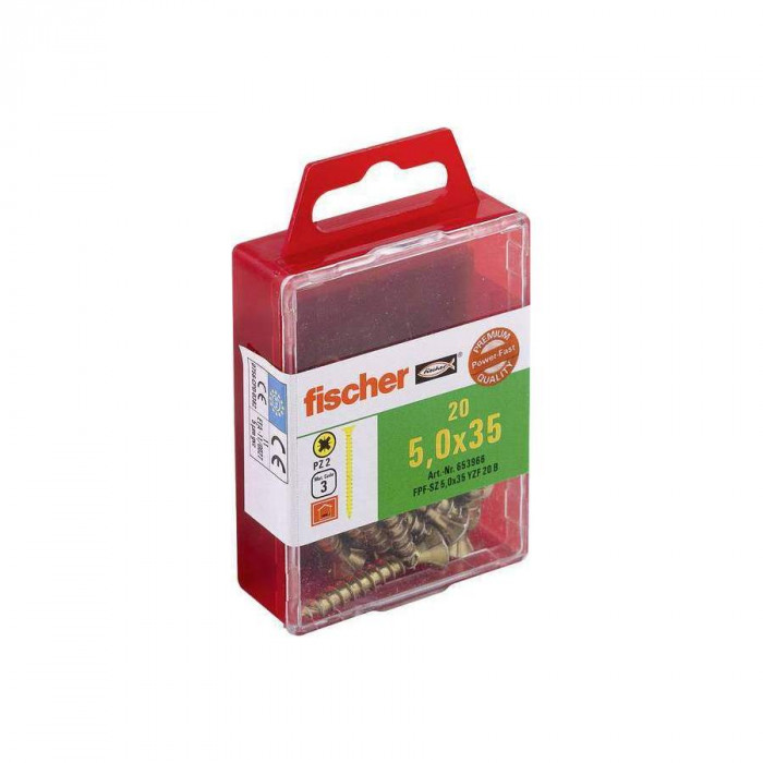 FISCHER Шурупы по дереву FPF-SZ 5.0x35 YZ 20шт. / Упак. 653966