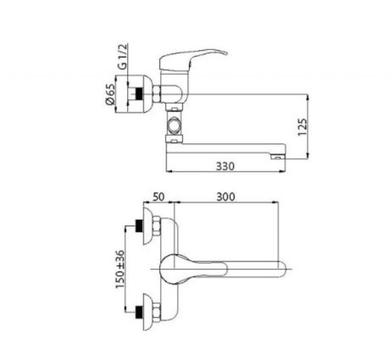 Maisītājs vannas ar garo  izteku Optima-12/C , O2CK08