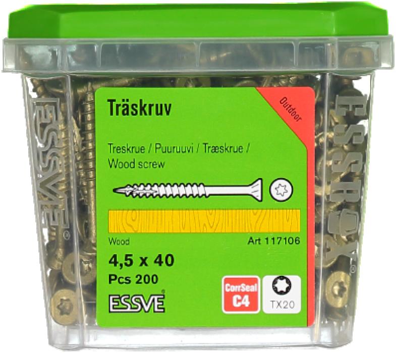 Skrūve kokam ESSDRIVE 4.5x40mm Zn 200gab/iep., ESSVE 137106