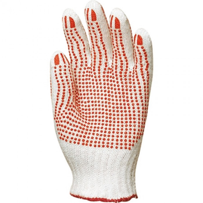 Dotted knit glove, red dots both side, size 8/10