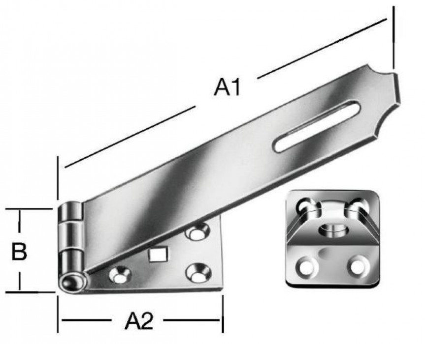 Security padlock latches 125x35mm Steel/zn
