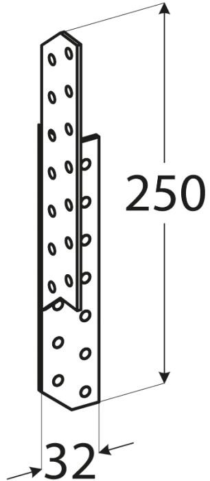 Nesošā plāksne (spāru leņķis)  32x250x2.0 mm labais
