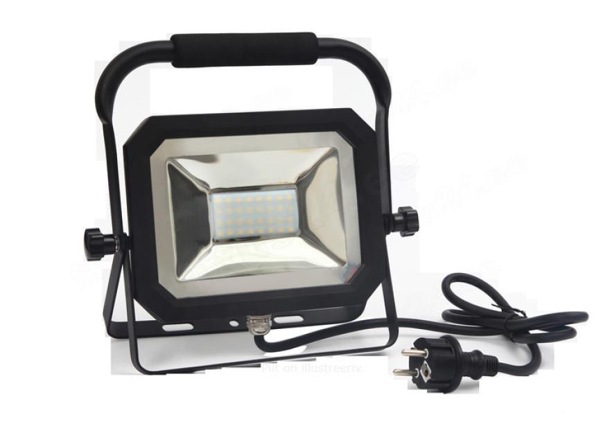 LED prožektors uz statīva 30W 2100Lm IP65 4000K melns