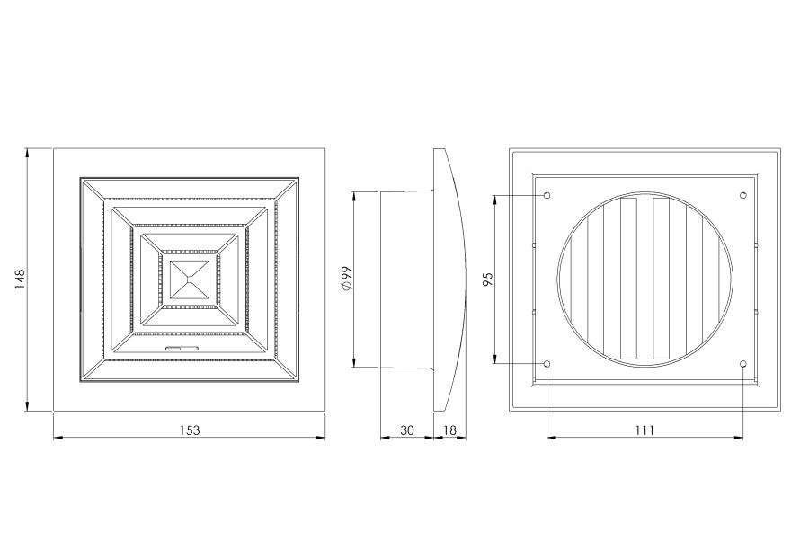 ventilationgrilleplastic,148x153mm,Ø100mm,ceiling,adjustable