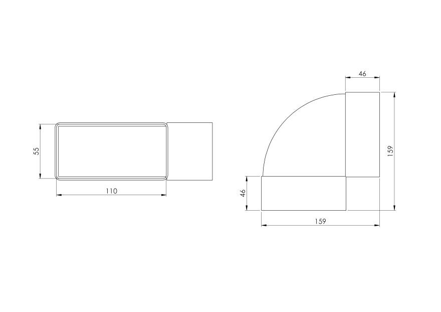 elbowhorizontalplastic,110x55mm,90*