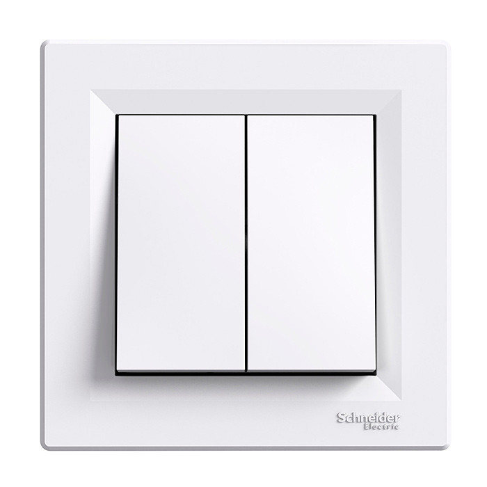 Asfora - 1pole 2-circuits switch, white
