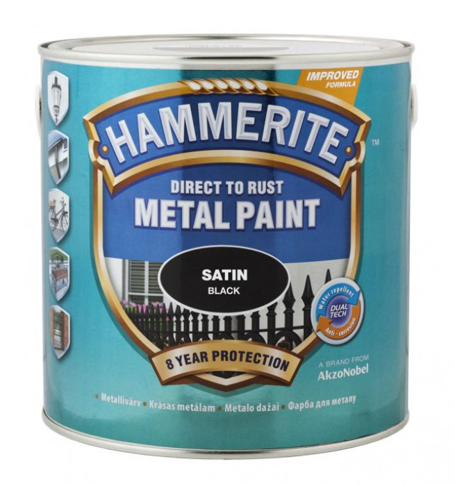 HAMMERITE SATIN FINISH (half-mat) 750 ml Black