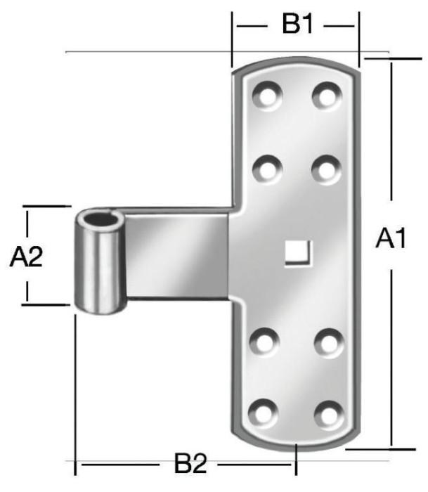T-hinge straps 160x55mm Steel/ZN