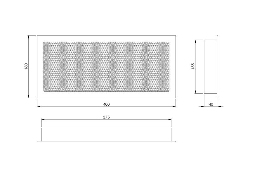 grillefireplace,400x180mmwithaframeandscreen