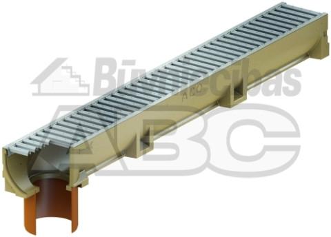 Kanāls 1000x118x100 EUROLINE  ar PVC izvadu,zn režģi 38701