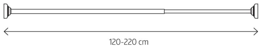 LOTUS telescopic rod Ø20mm, 120-220cm, white