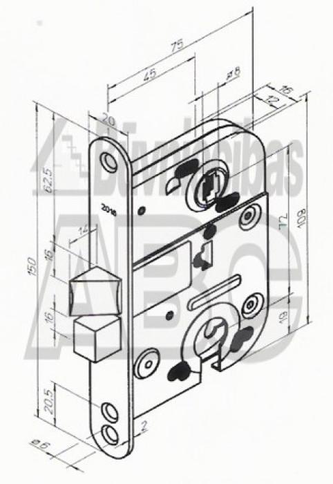 Mortice lock 2018 PZ72 zinc
