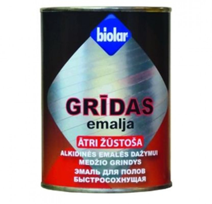 BIOLAR fast drying alkyd enamel for floors 0.9L grey