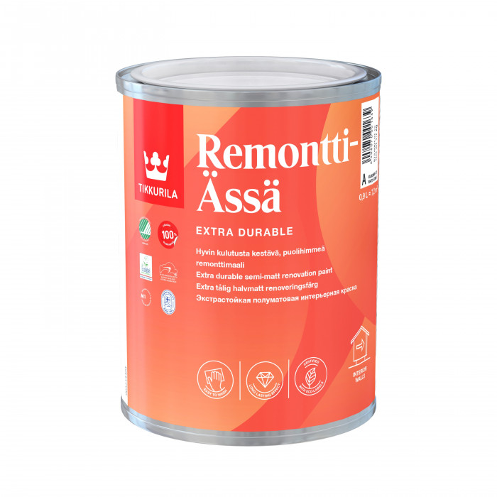 Tikkurila REMONTTI-ÄSSÄ A 0.9L Semi-matt, solvent-free acrylate paint