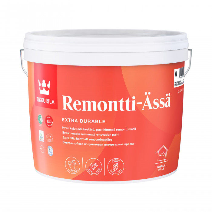 Tikkurila REMONTTI-ÄSSÄ C 2.7L Semi-matt, solvent-free acrylate paint