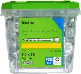 Skrūve kokam ESSDRIVE 6.0X80mm Zn 100gab/iep., ESSVE 136143