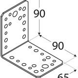Stūra leņķis  90x90x65x2.5 mm