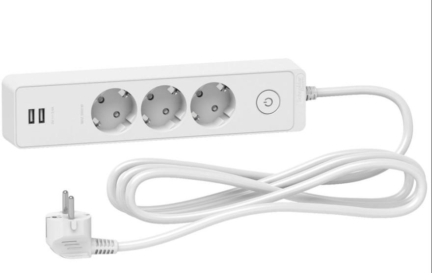 Pagarinātājs a/z 3-rozetes3m,2-USB, balts