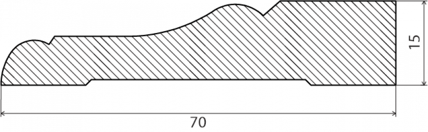 Grīdas līste 15x70x2700mm  PO15/70MA27VKOMB Balta