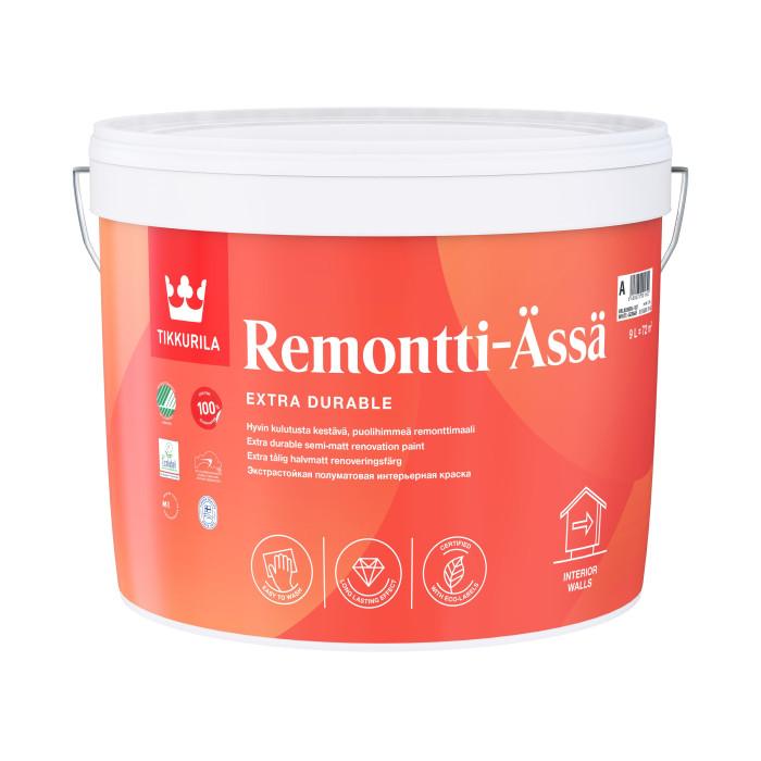 Tikkurila REMONTTI-ÄSSÄ A 9L Semi-matt, solvent-free acrylate paint